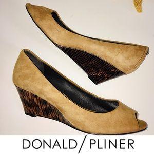 Donald Pliner Italian Luxury Suede Peep Toe Wedge